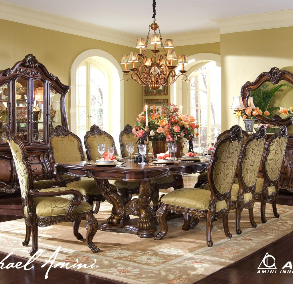michael amini chateau beauvais 9 piece ornate formal dining room