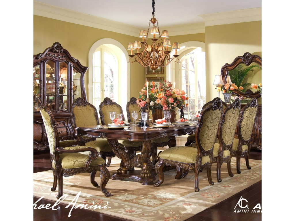 Michael Amini Chateau Beauvais 9 Piece Ornate Formal Dining Room ...