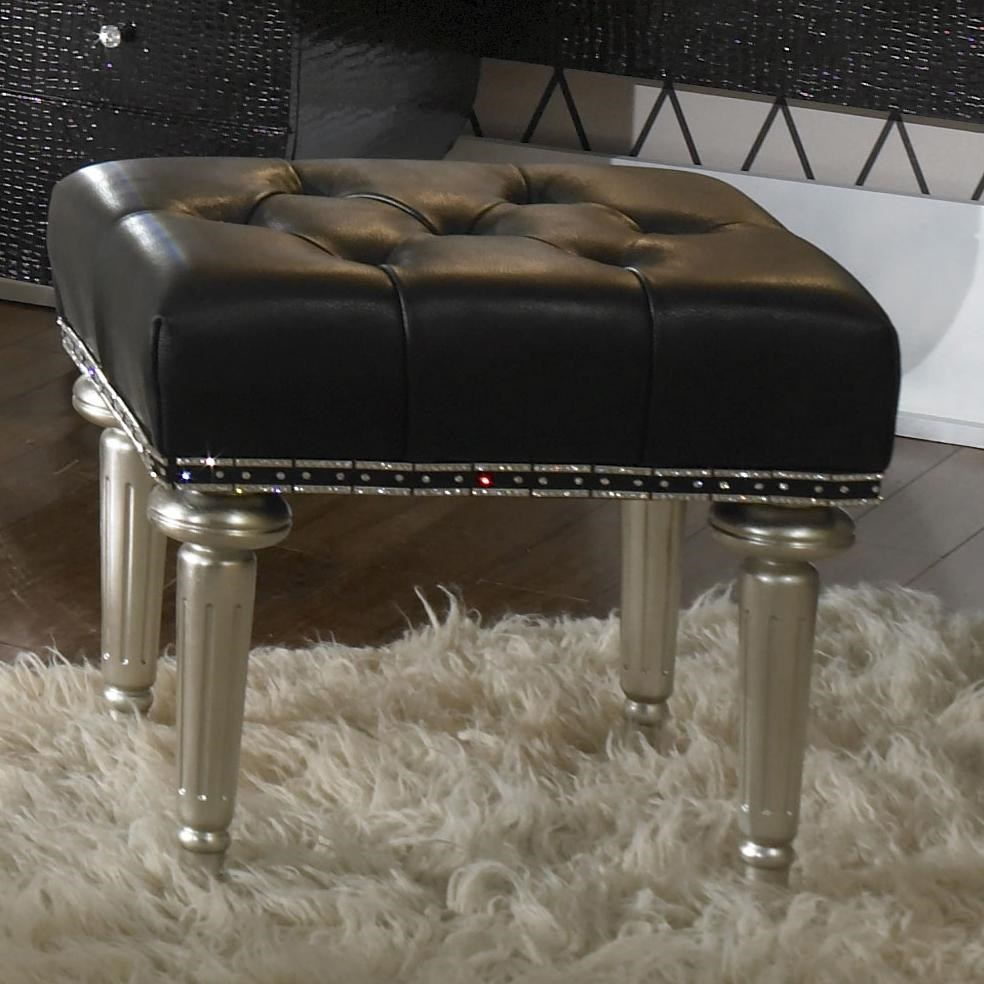 Michael Amini Hollywood Swank Upholstered Vanity Bench   Darvin Furniture    Vanity Stools/Vanity Chairs