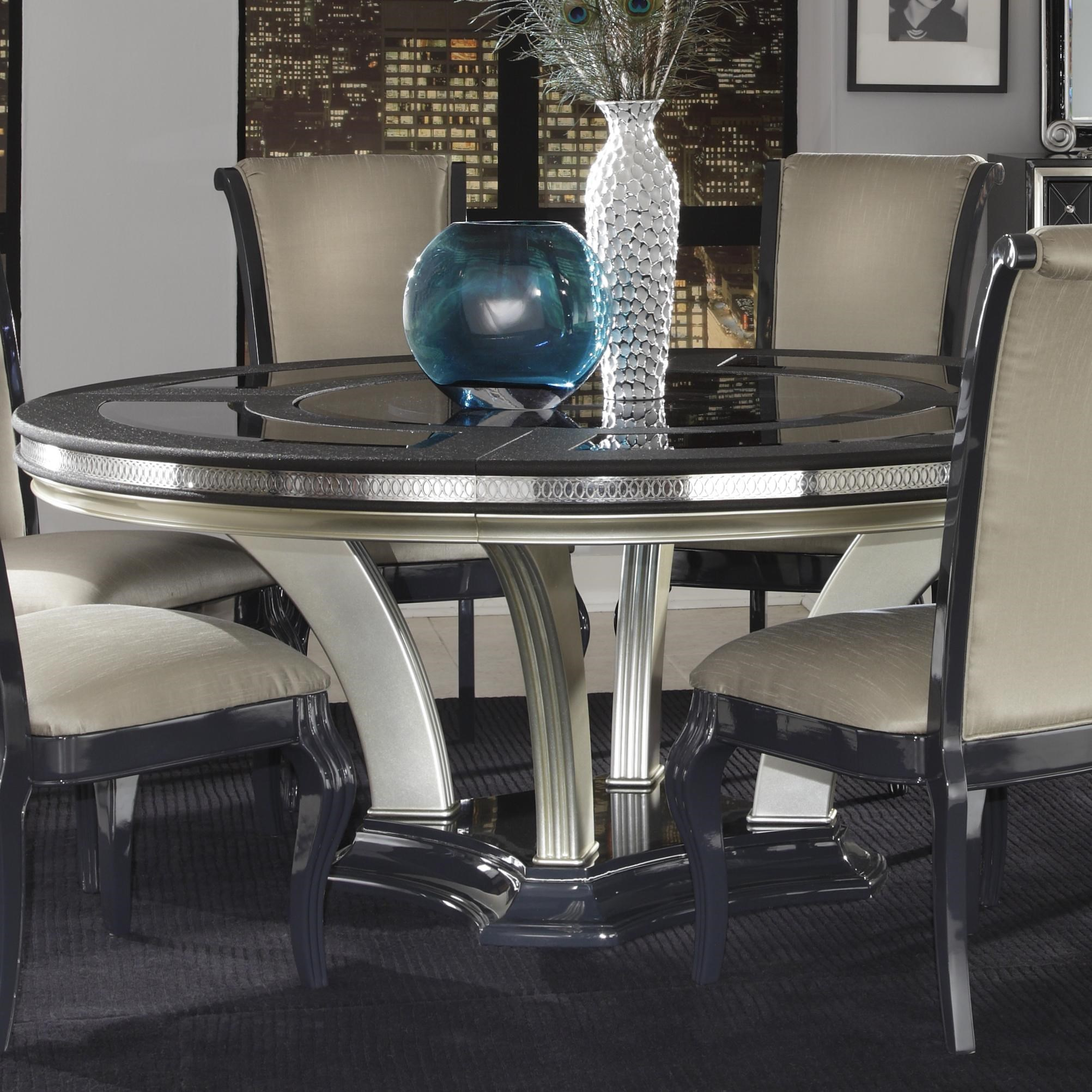 Michael Amini Hollywood Swank Round Dinner Table W/ Pedestal Base