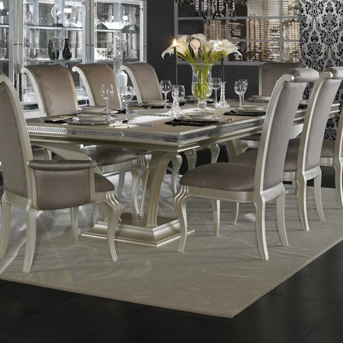 Michael Amini Hollywood Swank Large Rectangular Dinner Table with Double Pedestal Base