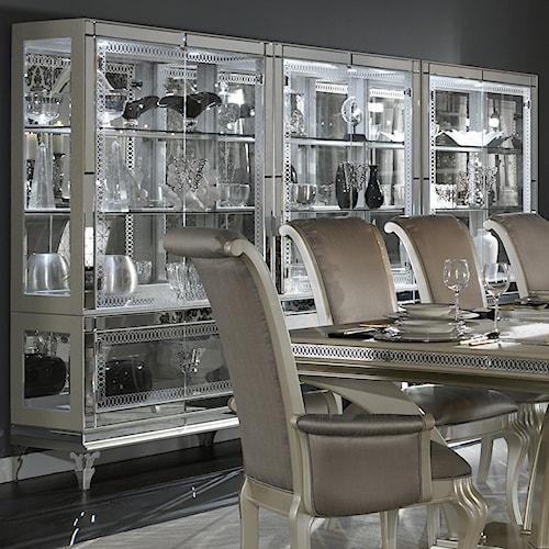 Michael Amini Hollywood Swank Curio w/ Glass Shelves