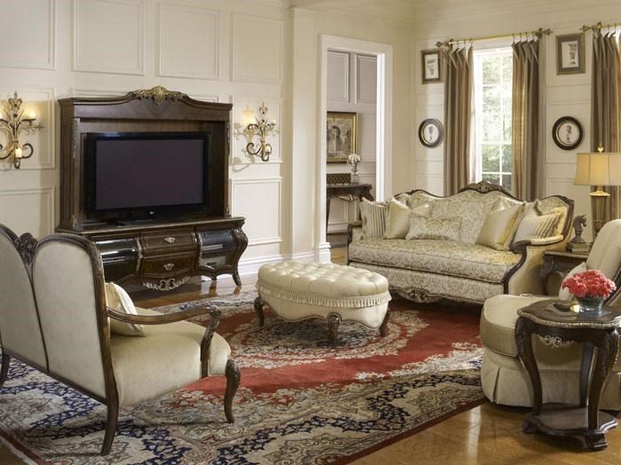Shown in Room Setting with Sette, Side Chair Table, Swivel Chair, Sofa and Television Unit
