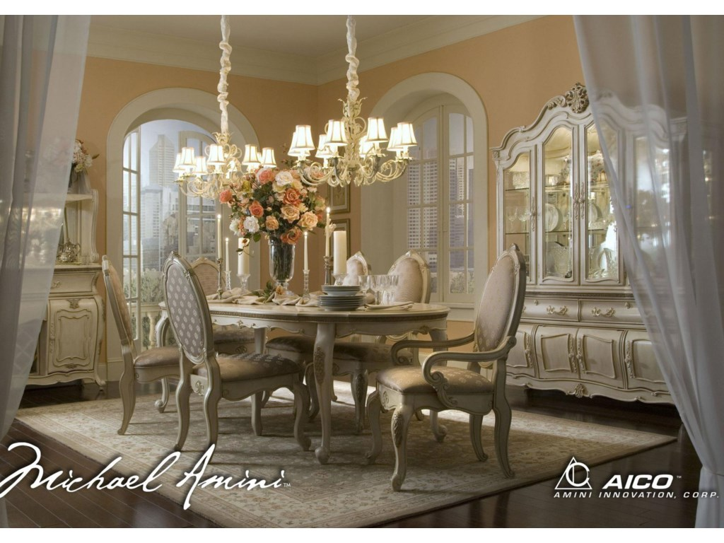 Shown with Oval Dining Table, Arm Chairs, China and Buffet, and Sideboard with Bar Top
