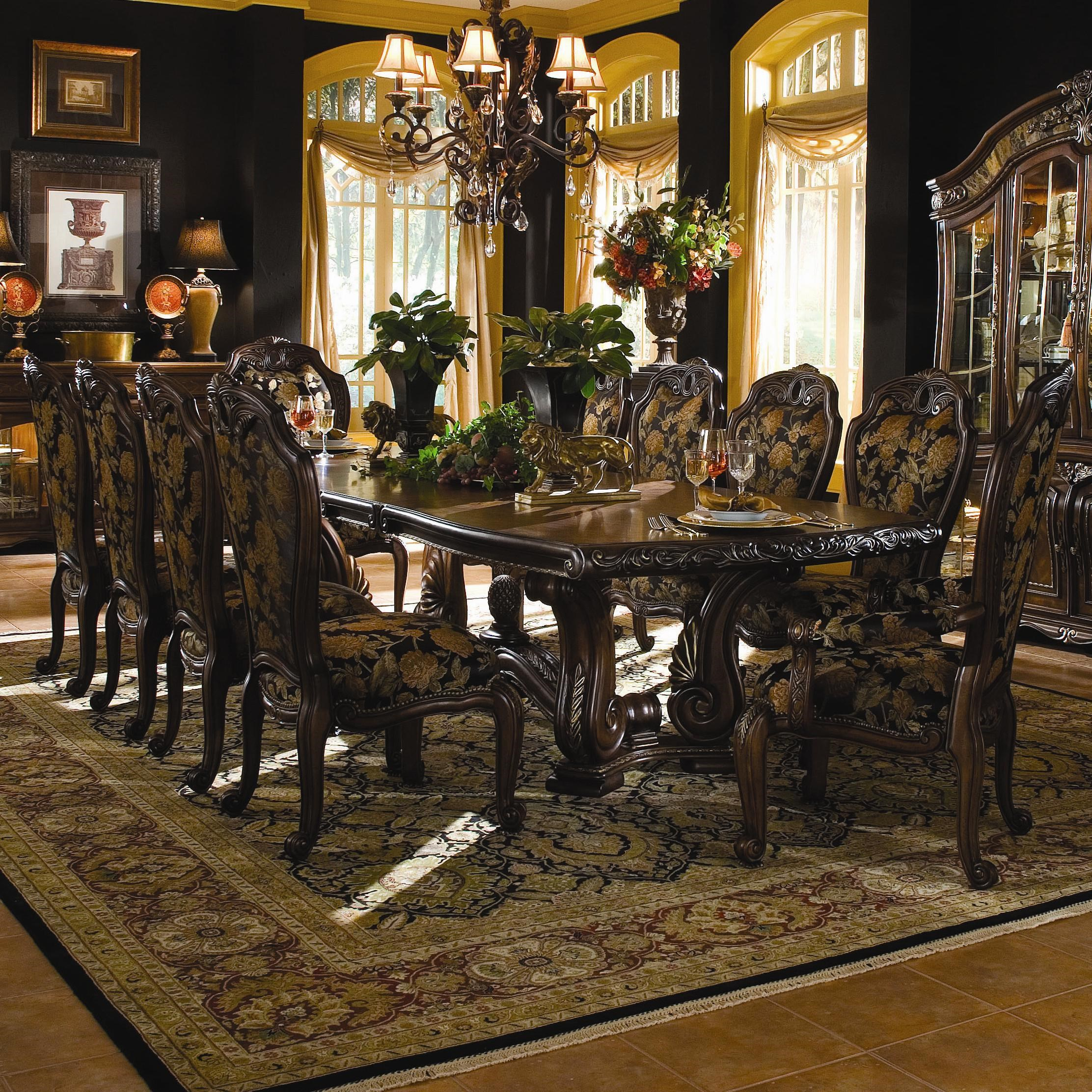 Michael Amini Oppulente 11 Piece Traditional Rectangular Dining Table Set    Olindeu0027s Furniture   Dining 7 (or More) Piece Set