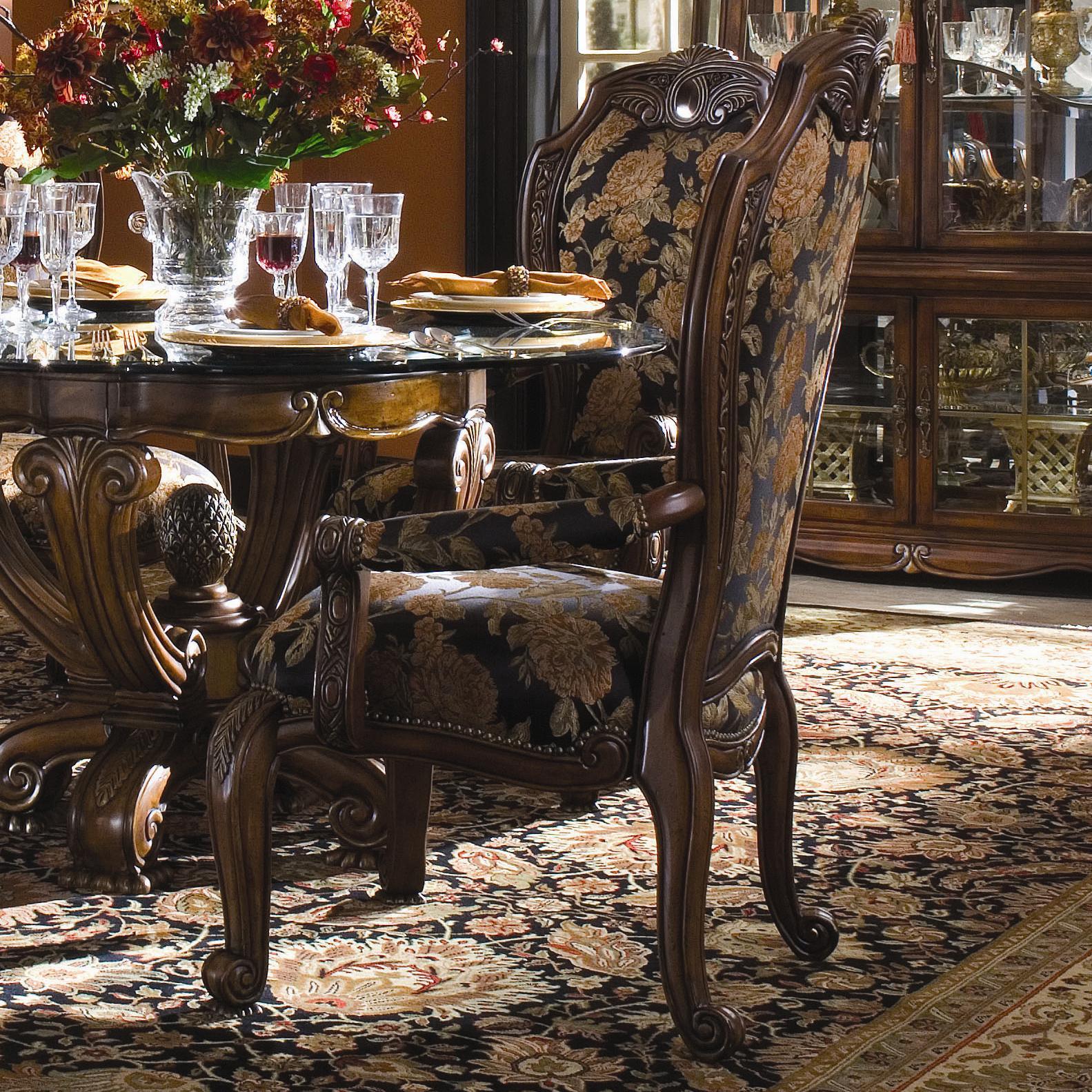 Michael Amini Oppulente Traditional Fabric Arm Chair   Dunk U0026 Bright  Furniture   Dining Arm Chair