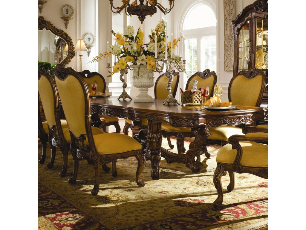 Michael Amini Palais Royale Rectangular Dining Table with Ornate ...