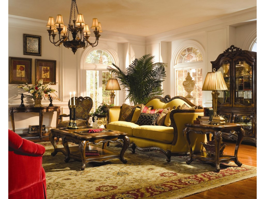 Shown with Wood Trim Sofa, Fabric Wood Chair, Cocktail Table, Sofa Table, and Curio