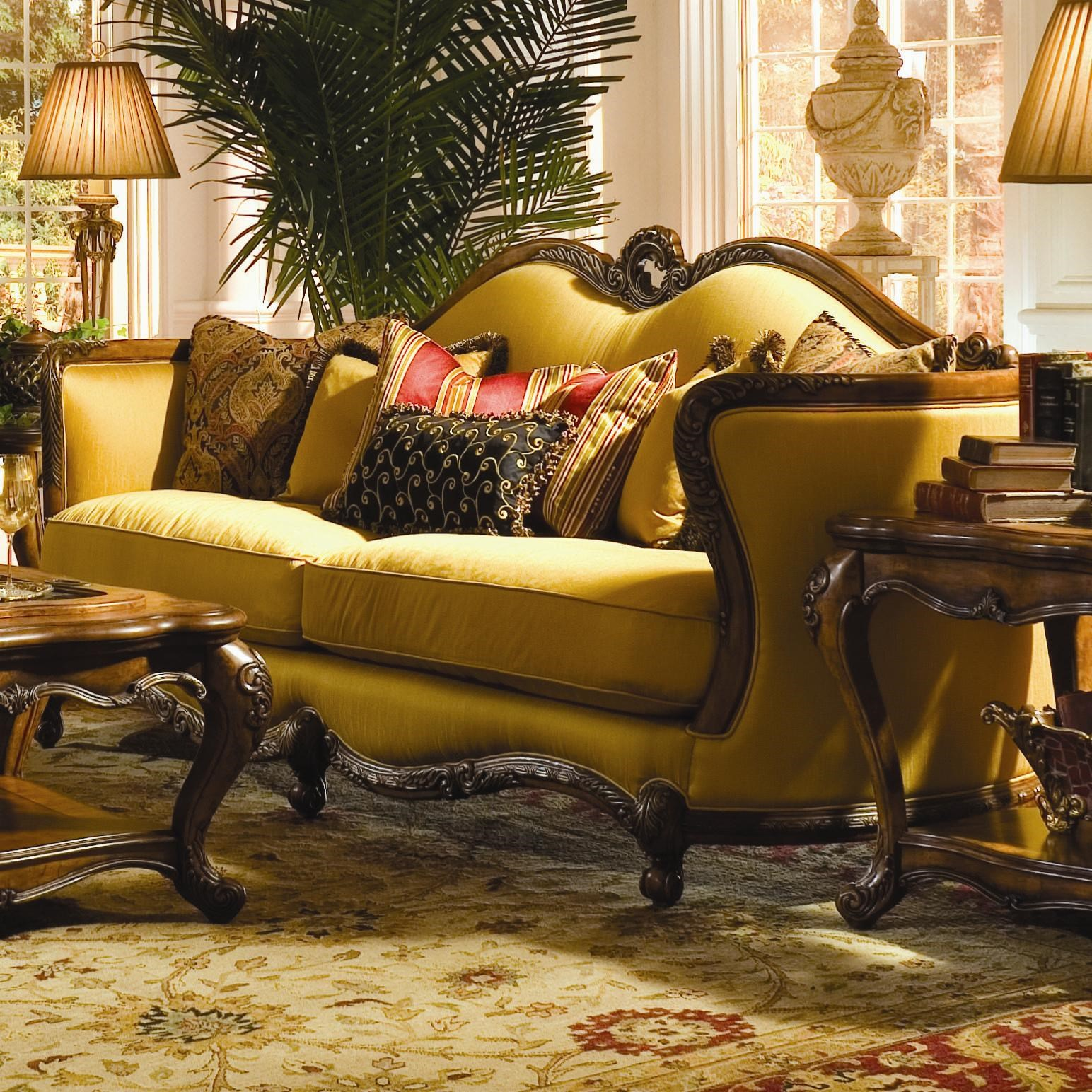 Michael Amini Palais Royale Wood Trim Sofa With Hand Carved Accents    Olindeu0027s Furniture   Sofa Part 77