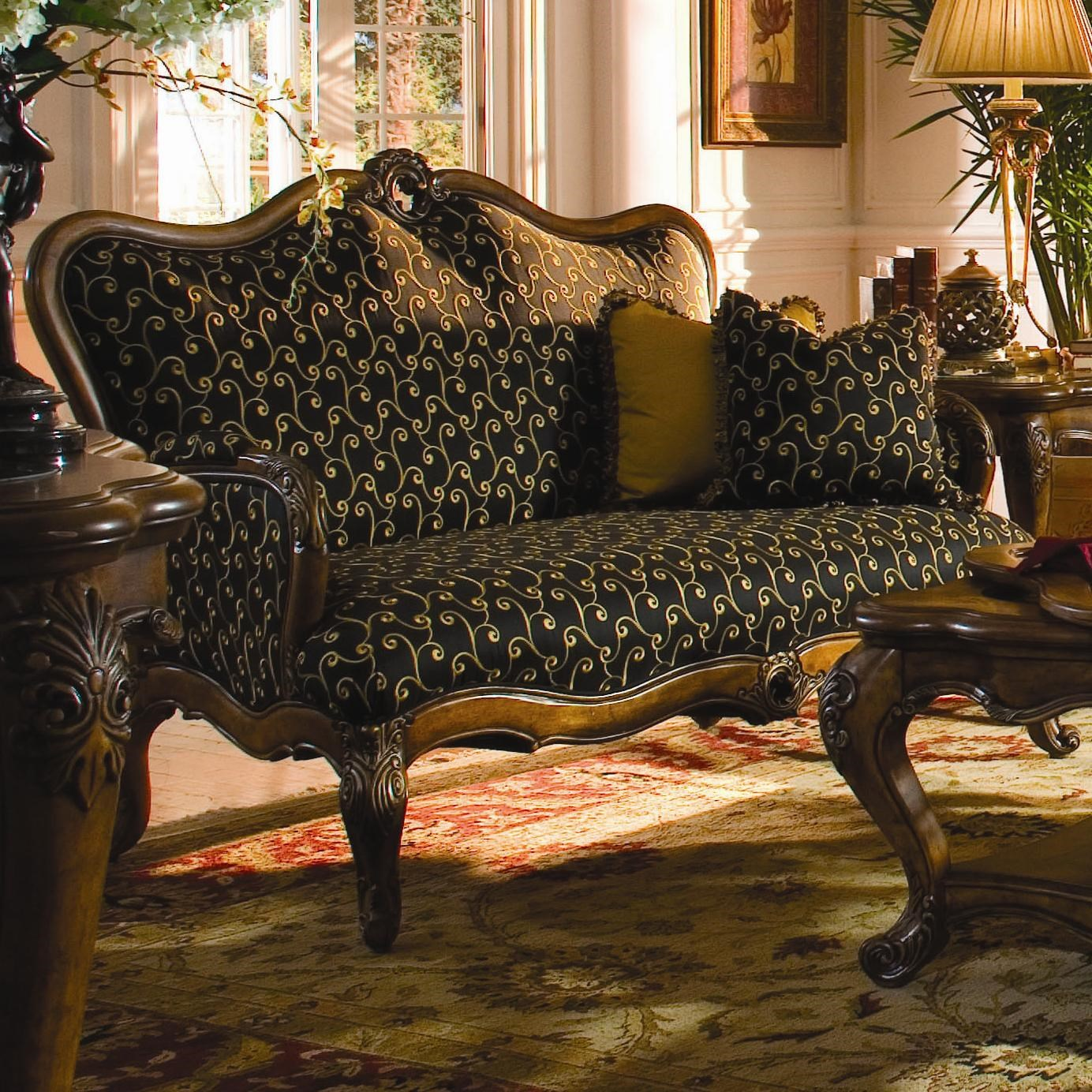 Michael Amini Palais Royale Wood Trim Settee With Hand Carved Accents