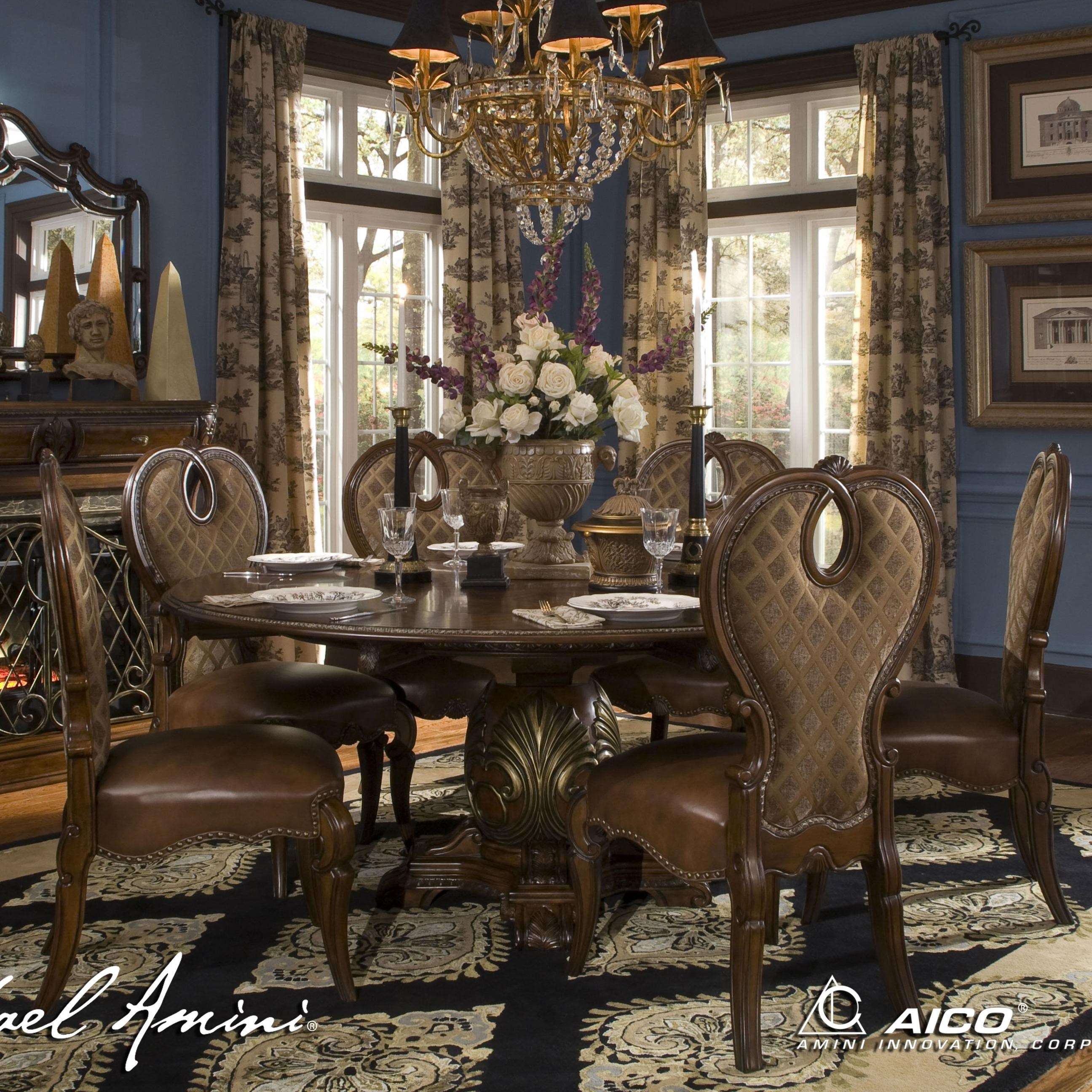 Michael Amini The Sovereign Round Dining Table W/ 6 Side Chairs   Olindeu0027s  Furniture   Dining 7 (or More) Piece Set