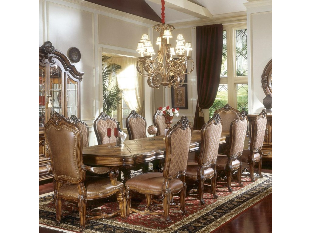 Shown as part of dining set. Michael Amini Tuscano Leg Dining Table w  3 Leaves   Hudson s