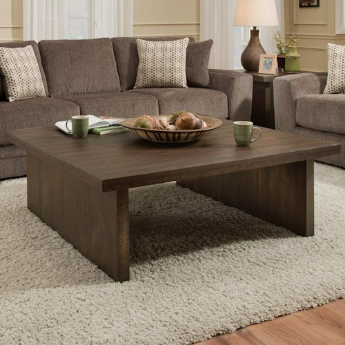 Albany 129 Distressed Walnut Contemporary Square Coffee Table