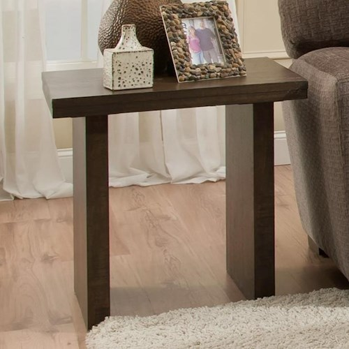 Albany 129 Distressed Walnut Square Contemporary End Table