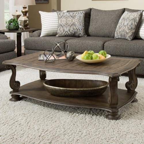 Albany 140 Antique Oak Traditional Coffee Table with Scroll Legs
