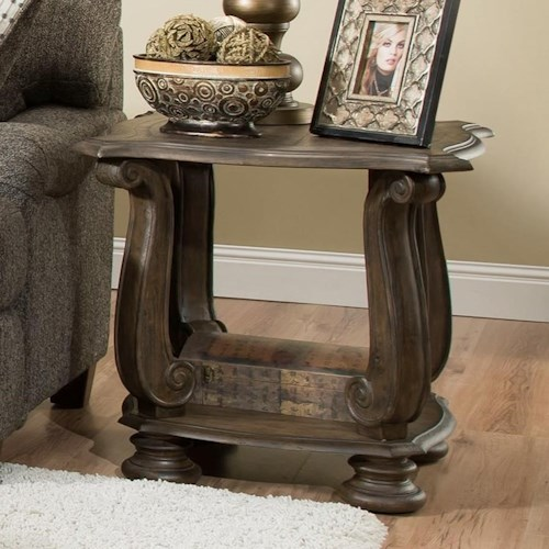 Albany 140 Antique Oak Traditional End Table with Scroll Legs