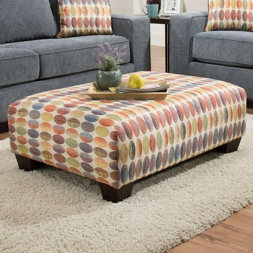 Albany 451 Accent Ottoman in Colorful Geometric Pattern