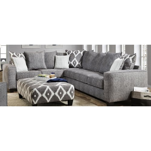 Albany 0464 Contemporary 2 Piece Sectional in Gray Fabric