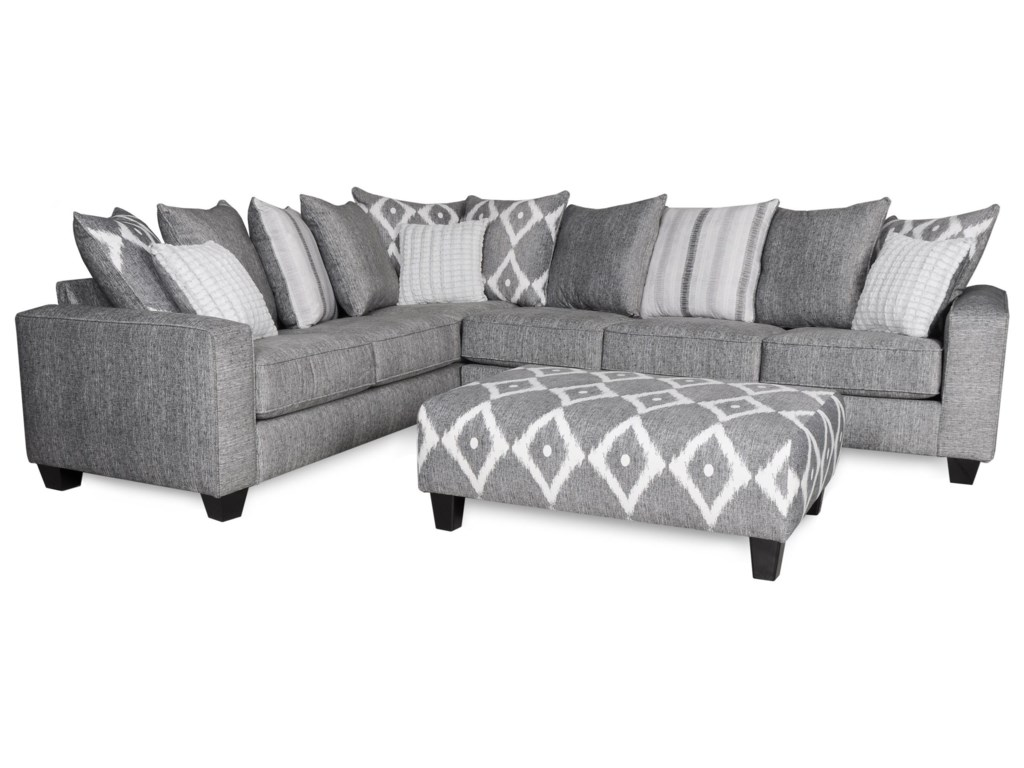 2 Piece Sectional In Gray Fabric