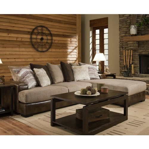 Albany 0689 Casual 2 Piece Sectional with Two-Tone Leather and Fabric