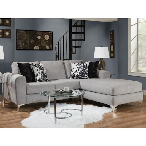 Albany 0776 Contemporary 2 Piece Sectional with Chrome Bracket Feet