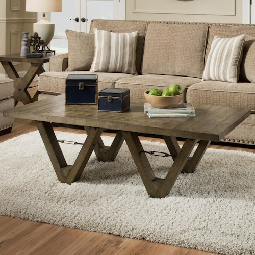 Albany 128 Distressed Oak Coffee Table with Metal Accents