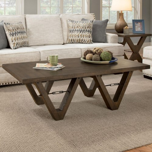 Albany 128 Distressed Walnut Coffee Table with Metal Accents