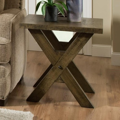 Albany 128 Distressed Oak Square End Table with X-Shaped Base
