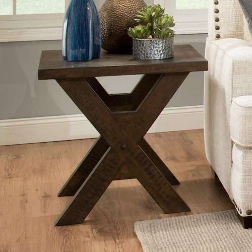 Albany 128 Distressed Walnut Square End Table with X-Shaped Base