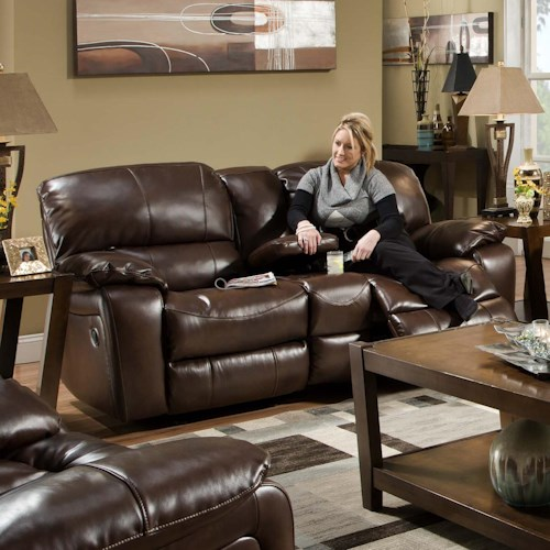Albany 1750 Casual Glider Reclining Loveseat with Console