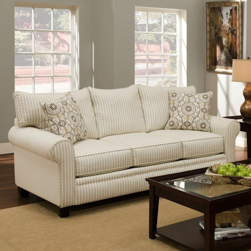 Albany 216 Transitional Stationary Sofa with Rolled Arms