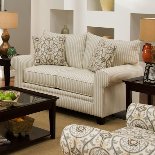 Albany 216 Transitional Loveseat with Rolled Arms