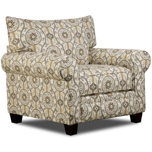 Albany 216 Transitional Chair with Wood Block Feet and Rolled Arms