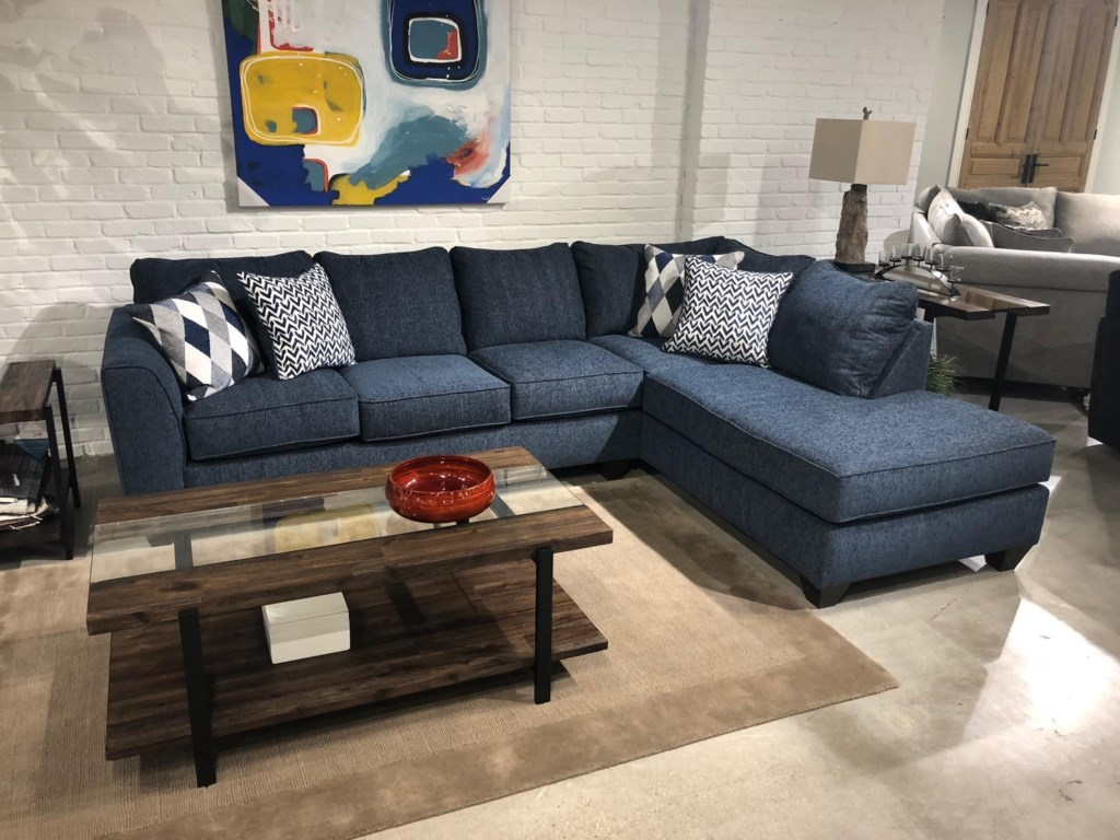 Albany 2256DenimTwo Piece Sleeper Sectional