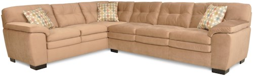 Albany 782 Casual Two Piece Sectional Sofa with Button Tufting