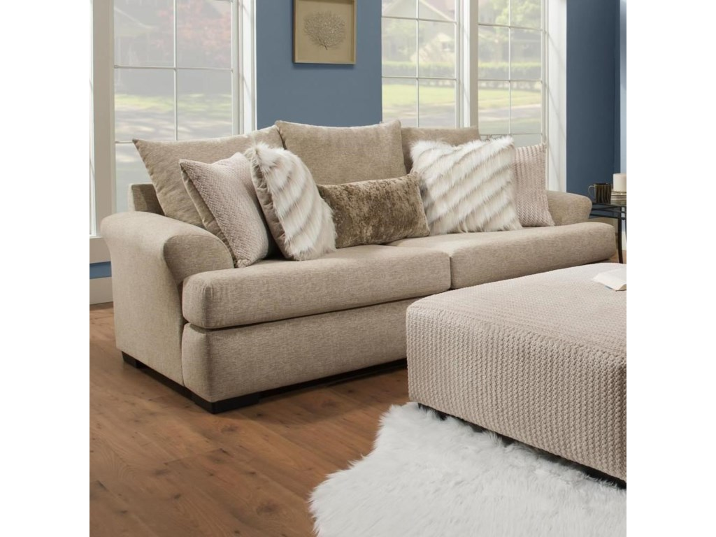 8340 Casual Sofa With Large Flare Tapered Arms By Albany At Miskelly Furniture
