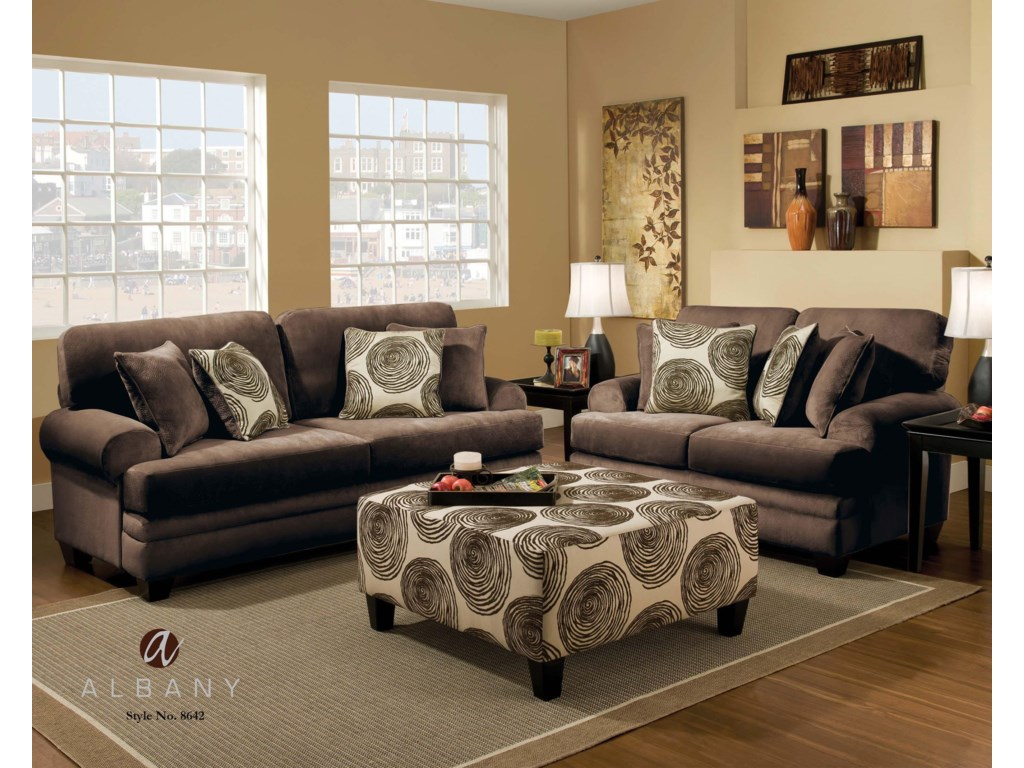 Albany 8642Transitional Stationary Sofa