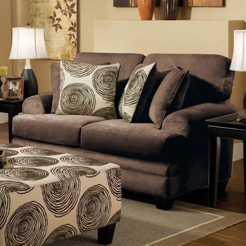 Albany 8642 Transitional Loveseat with Sloped Arms