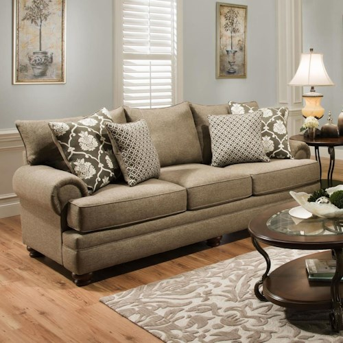 Albany 8645 Traditional Stationary Sofa with Oversize Rolled Arms