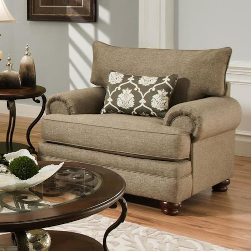 Albany 8645 Traditional Style Chair with Oversize Rolled Arms