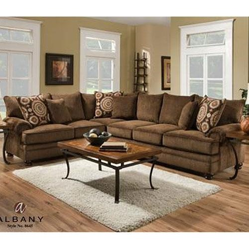 Albany 8645 Transitional Sectional With Rolled Arms