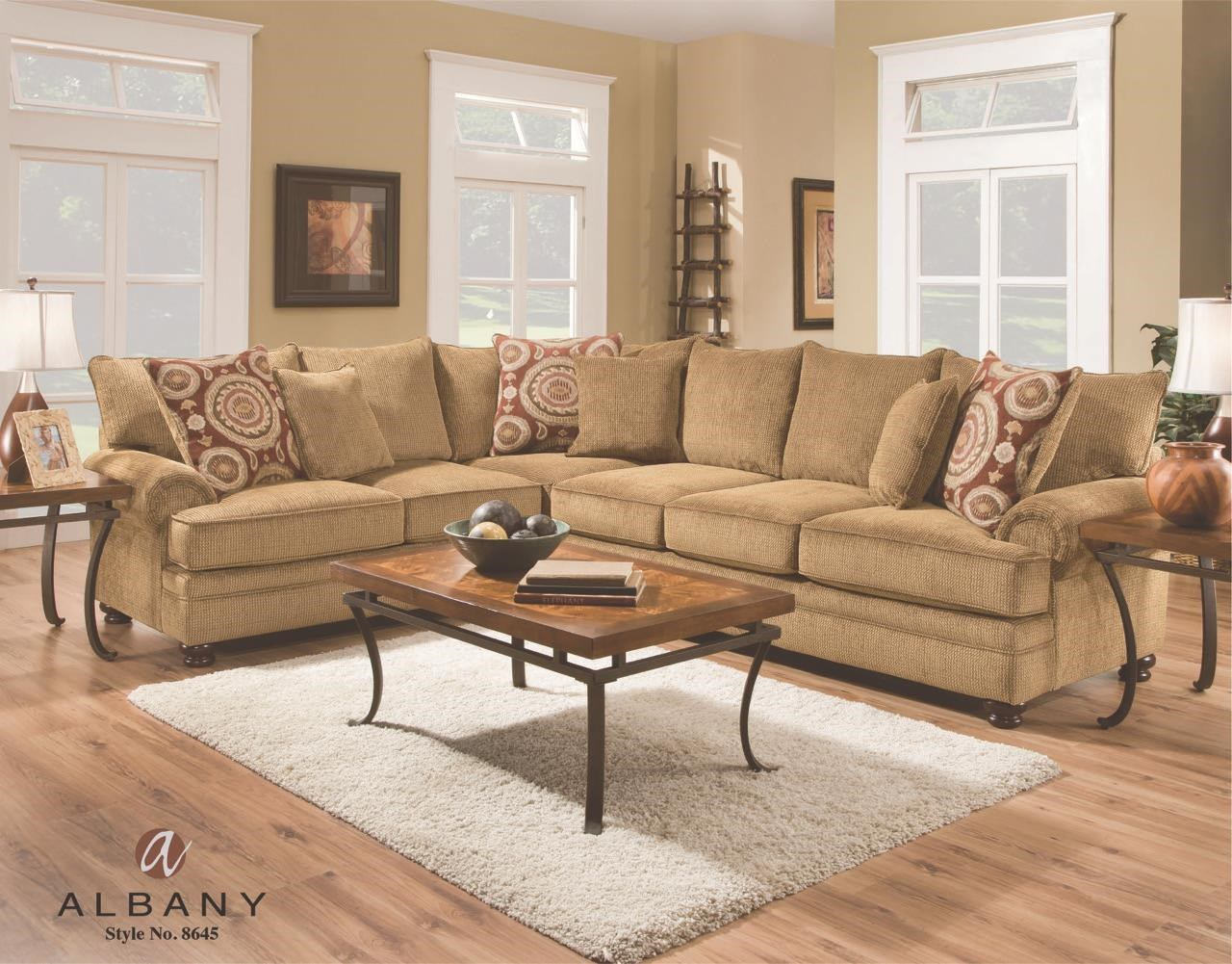 albany 8645 transitional sectional with rolled arms royal rh royalfurniture com