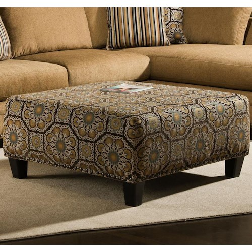 Albany 8648 Collection Casual Cocktail Ottoman with Tapered Block Feet