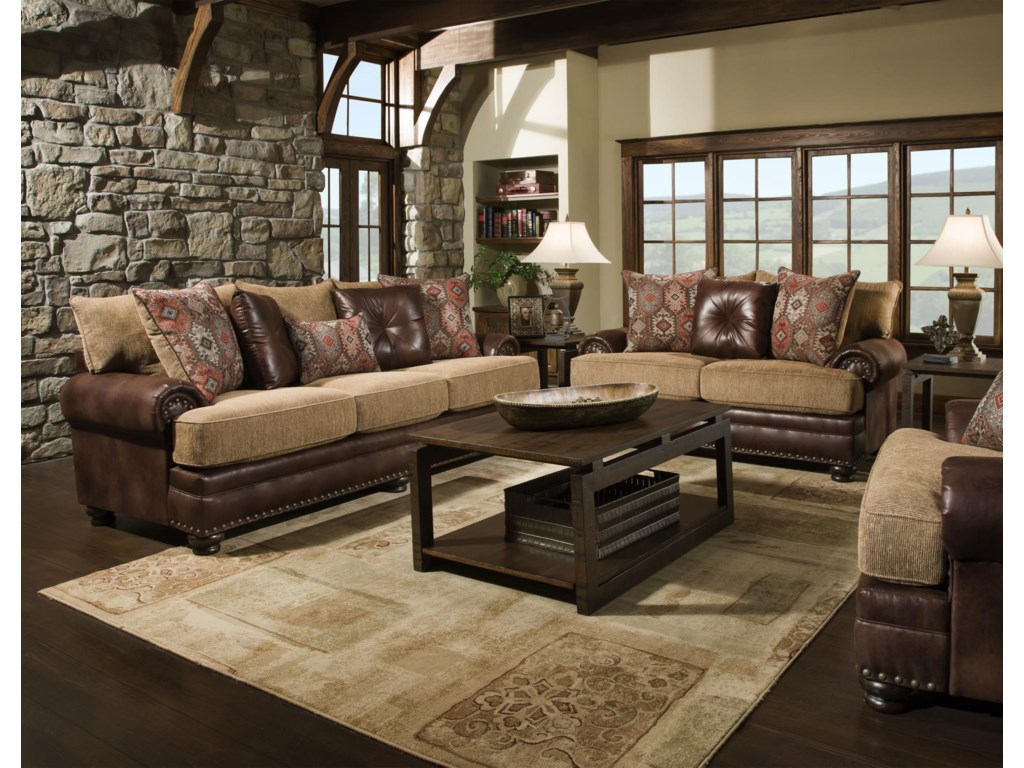 Albany 8649Traditional Sofa, Loveseat, Chair and Ottoma