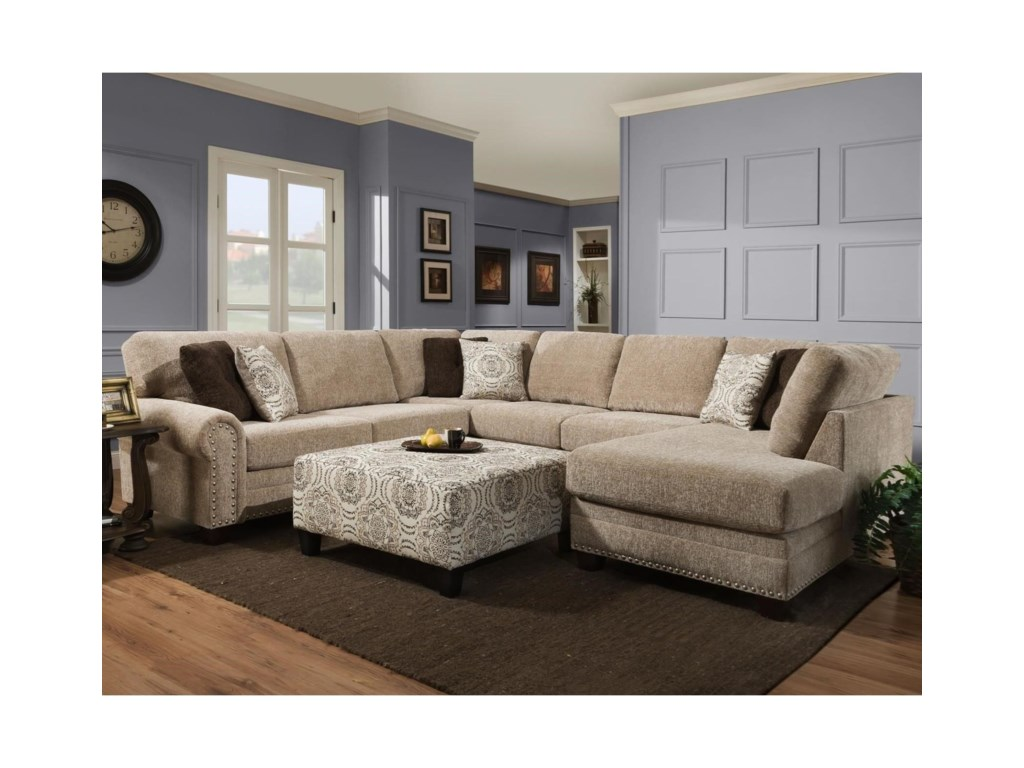 Albany 86583-Piece Sectional and Ottoman
