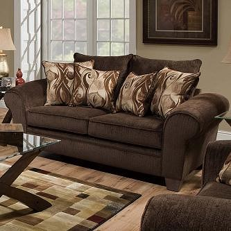 Albany 910 Transitional Rolled Arm Loveseat with Exposed Wood Legs
