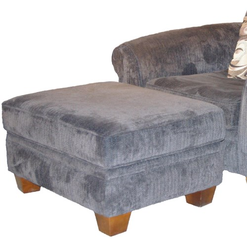 Albany 910 Transitional Ottoman with Tapered Wood Feet