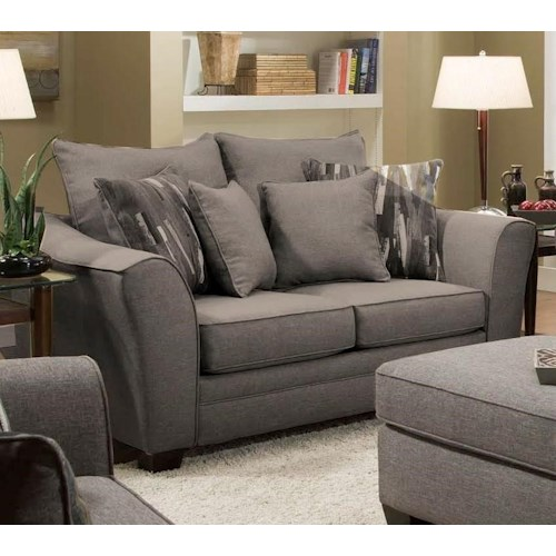 Albany 957 Transitional Loveseat with Flared Arms