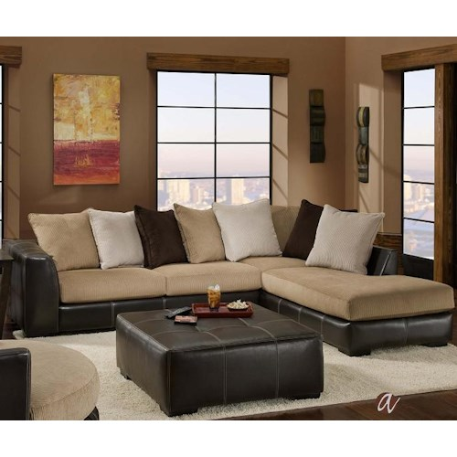 Albany calico contemporary 2 piece sectional with raf for Albany saturn sectional sofa chaise