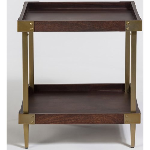 Alder Tweed Avenue Square End Table With Tray Top